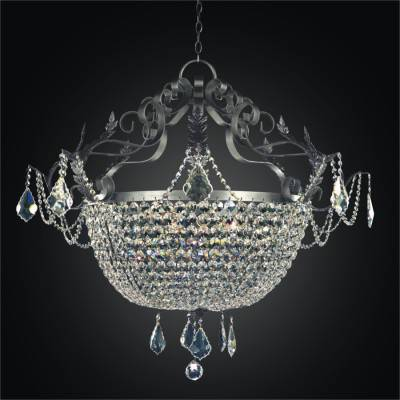Wrought Iron and Crystal Foyer Chandelier | Wrought Iron 541
