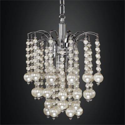 Mini Pendant Chandelier with Waterfall Faux Pearl Beads | Asti 644