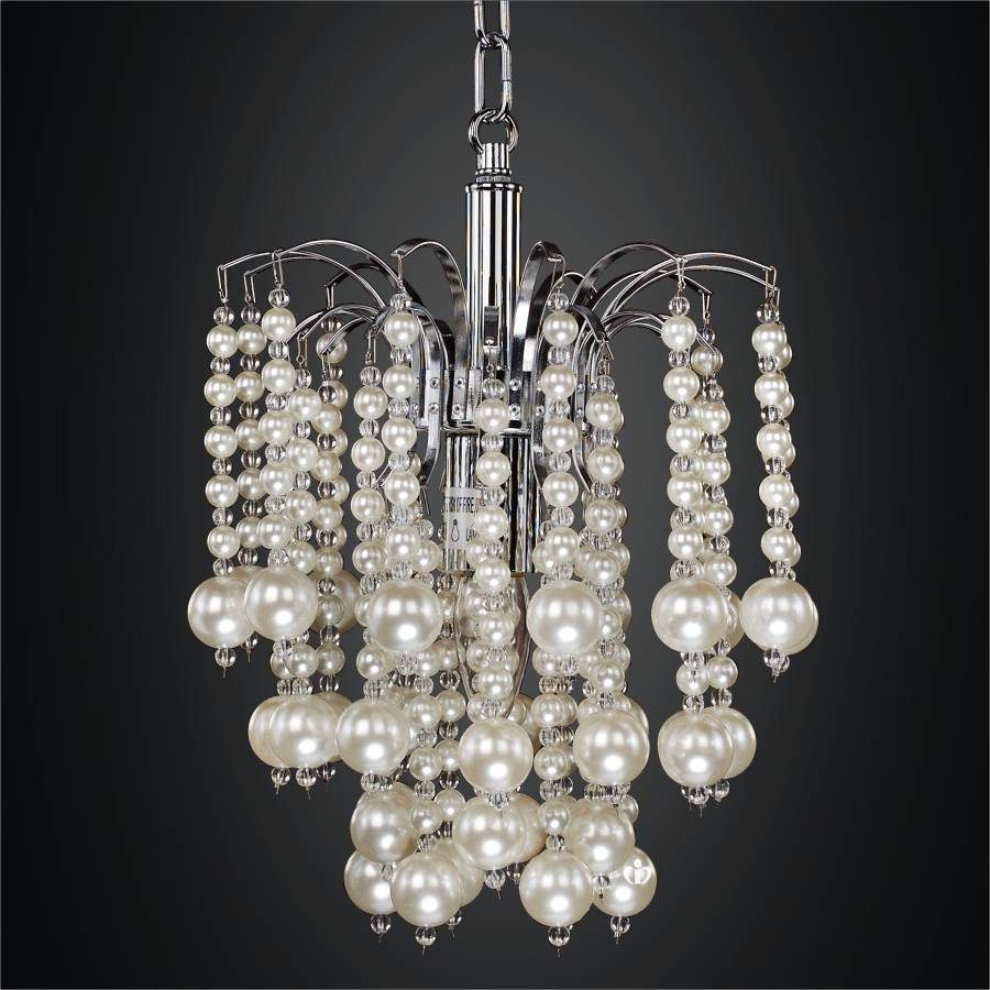 Mini Pendant Chandelier with Waterfall Faux Pearl Beads | Asti 644 by GLOW Lighting