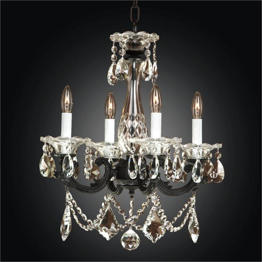 Black Chandelier – Mini Crystal Chandelier | English Manor 546 by GLOW Lighting