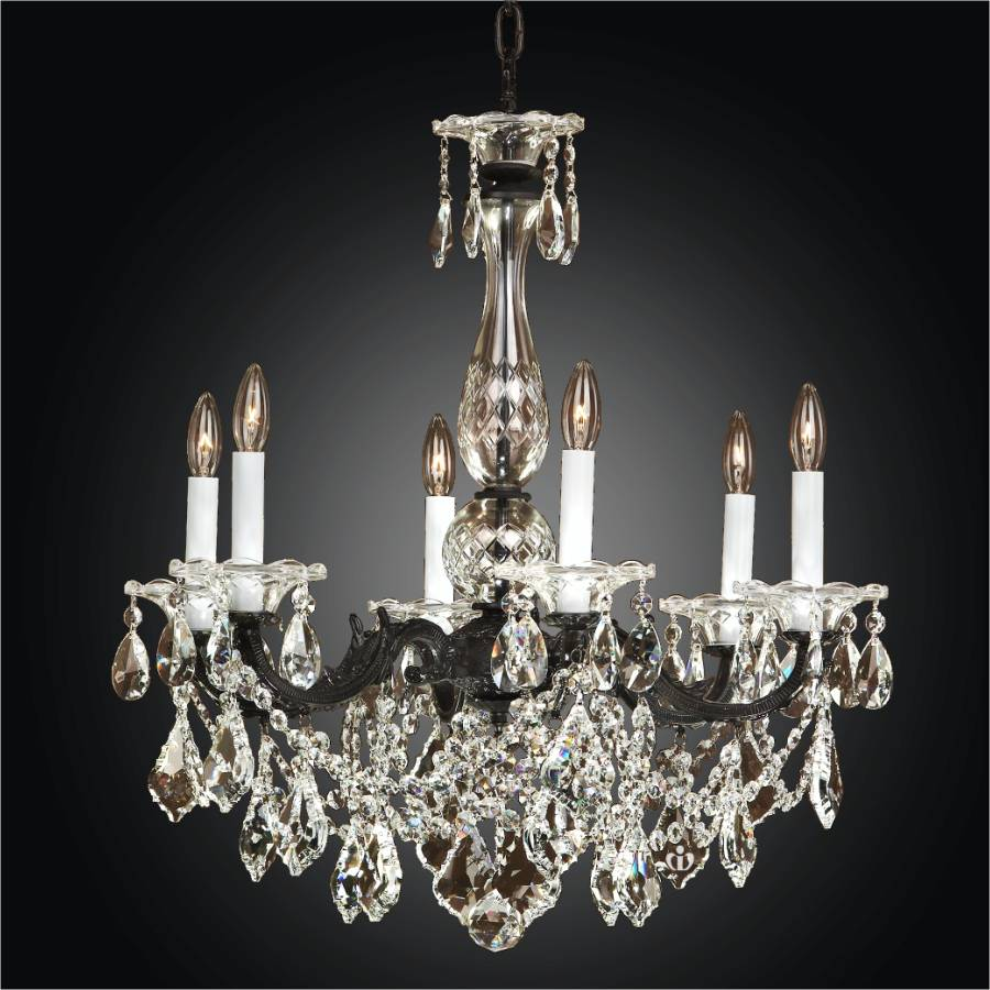 Black Chandelier – 6 Light Crystal Chandelier | English Manor 546L by GLOW Lighting