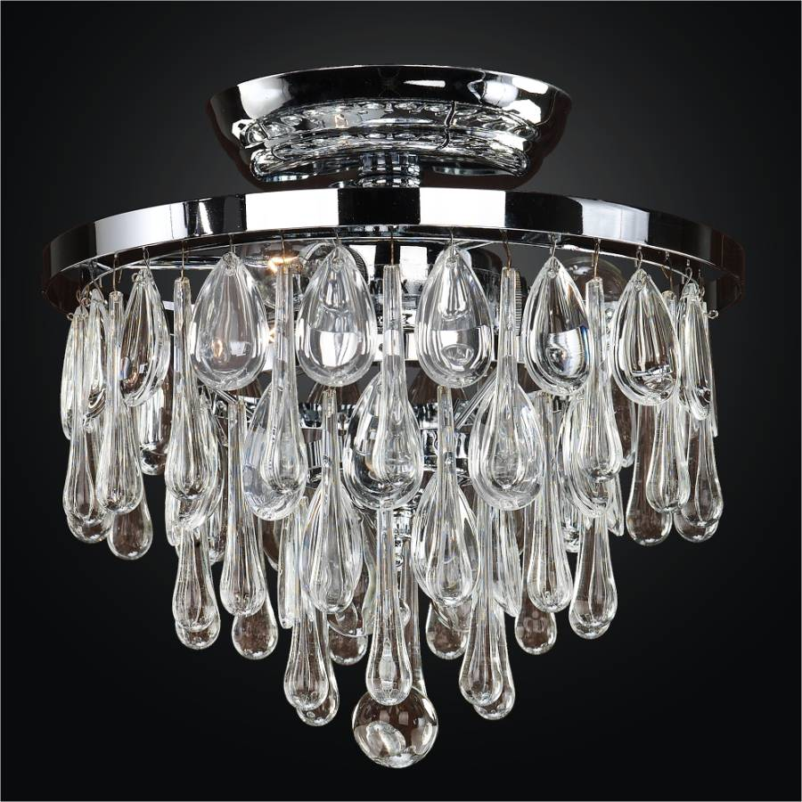 Crystal Flush Mount With Assorted Smooth Crystals Summer