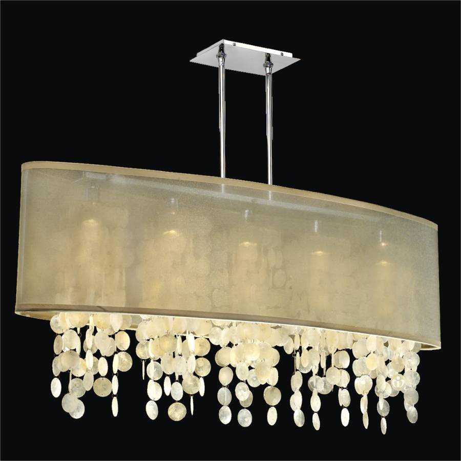 Oval Shade Chandelier with Capiz Shell | Soho 626C by GlOW Lighting