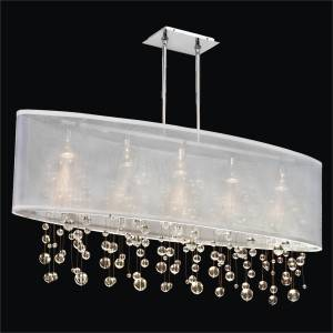 Oval Shade Chandelier with Smooth Crystal Beads | Soho 626R