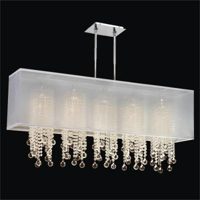 Rectangular Shaded Smooth Beads and Ball Chandelier | Omni 627B