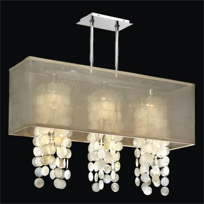 Rectangular Shaded Capiz Shell Chandelier | Omni 627C