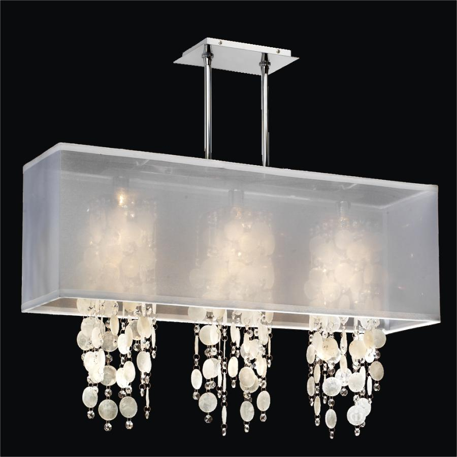 capiz shell lighting fixtures. Rectangular Shade Chandelier - Capiz Shell And Crystal | Omni 627K By GLOW® Lighting Fixtures E