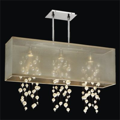Rectangular Shade Chandelier – Beaded Light Fixture | Omni 627N