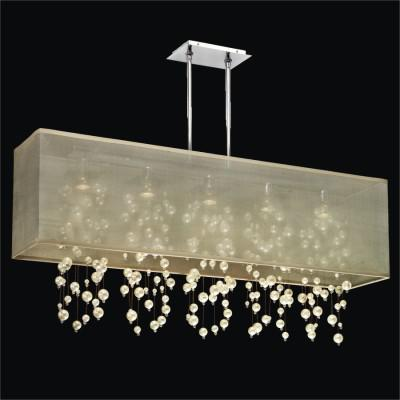 Rectangular Shaded Chandelier Trimmed With Faux Pearl Beads | Omni 627N