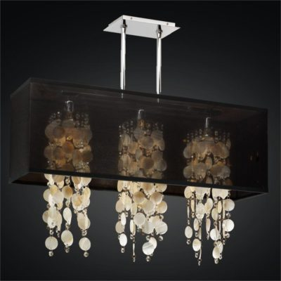 Rectangular Shade Chandelier – Oyster Shell Chandelier | Omni 627S