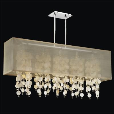 Rectangular Shaded Oyster Shell Chandelier | Omni 627S