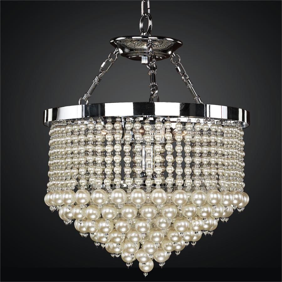 beaded pendant chandelier with faux pearl beads  vintages, Lighting ideas