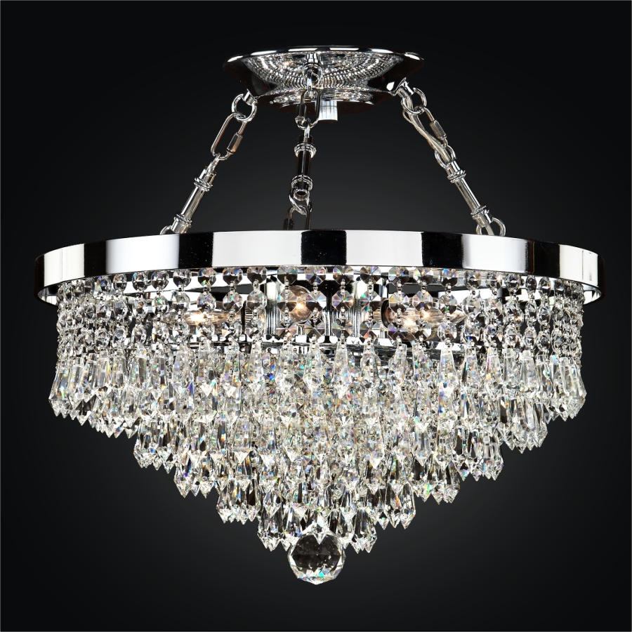 Semi Flush Crystal Ceiling Lights | Spellbound 605 by GLOW® Lighting