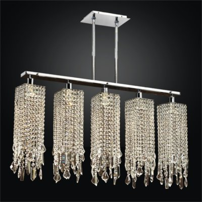 Linear Pendant Chandelier With Assorted Shape Crystals | Chelsea 645
