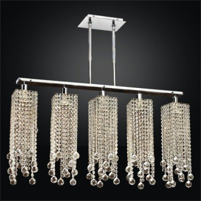 Linear Pendant Chandelier Faceted Crystal Ball Trim | Chelsea 645