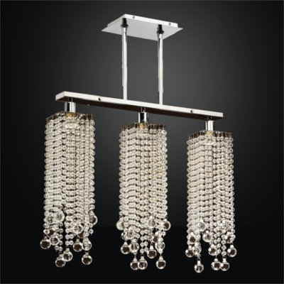 Linear Pendant Chandelier With Smooth Crystal Beaded Trim  | Chelsea 645