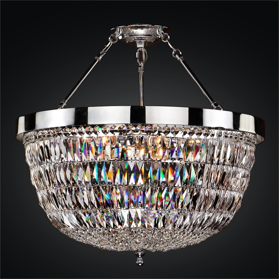 Crystal Semi Flush Mount Ceiling Light