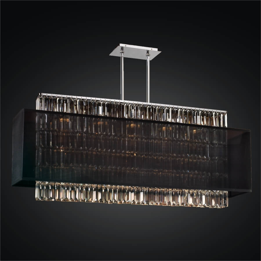 Rectangular Crystal Chandelier – Rectangular Shade  | Reflections 600LM44-19SP-B-7