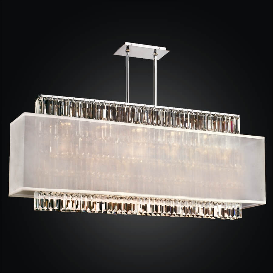 Rectangular Crystal Chandelier – Rectangular Shade  | Reflections 600LM44-19SP-W-7