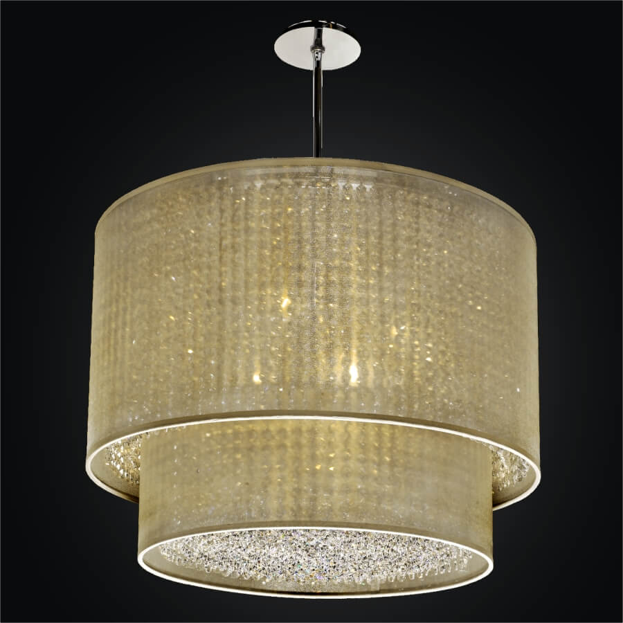 Double Drum Shade Chandelier Duet 601cd27sp T 7