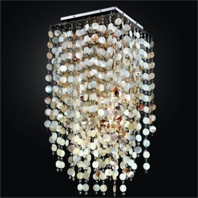 Square Oyster Shell and Crystal Long Flush Mount | Cityscape 598S