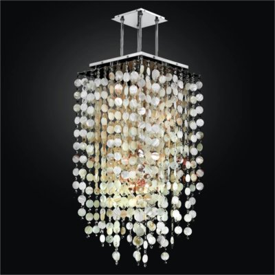 Square Oyster Shell and Crystal Long Pendant | Cityscape 598S