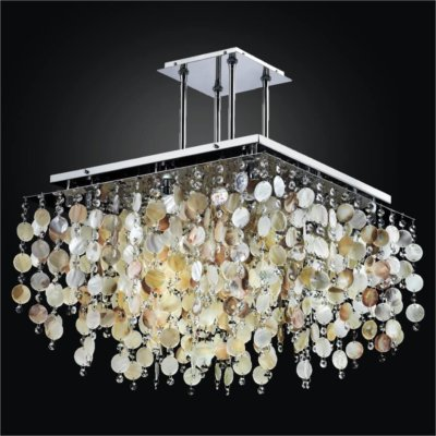 Square Chandelier with Oyster Shell | Cityscape 598S