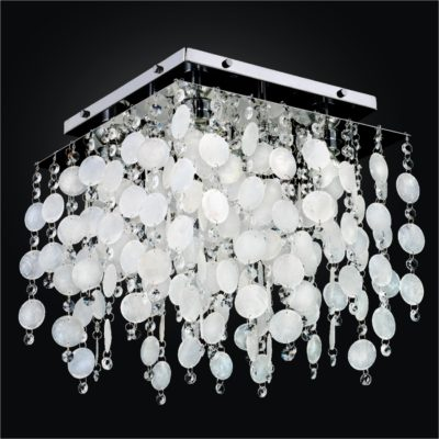 Capiz Shell Flush Mount Light Fixture with Crystal | Cityscape 598K