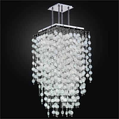 Long Capiz Shell Chandelier with Crystal | Cityscape 598K