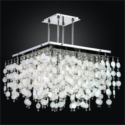 Square Capiz Shell Chandelier with Crystal | Cityscape 598K