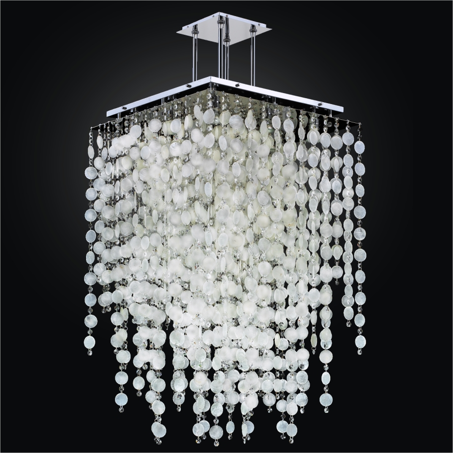 Long Capiz Chandelier | Cityscape 598K by GLOW® Lighting.