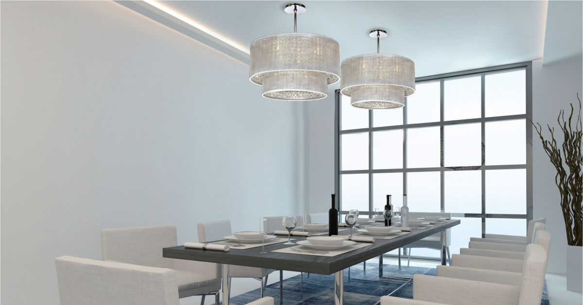 Delicieux Contemporary Dining Room Shaded Crystal Chandelier