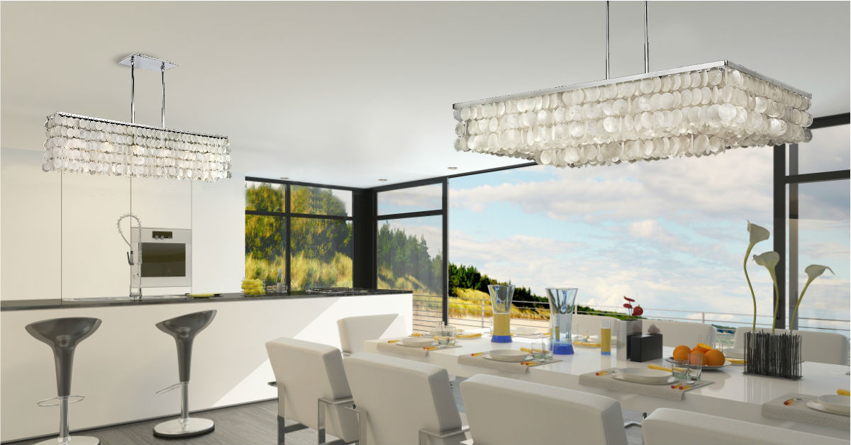 Modern Dinning Room Capiz Shell Chandelier · Classic Crystal Dining Room  Chandelier