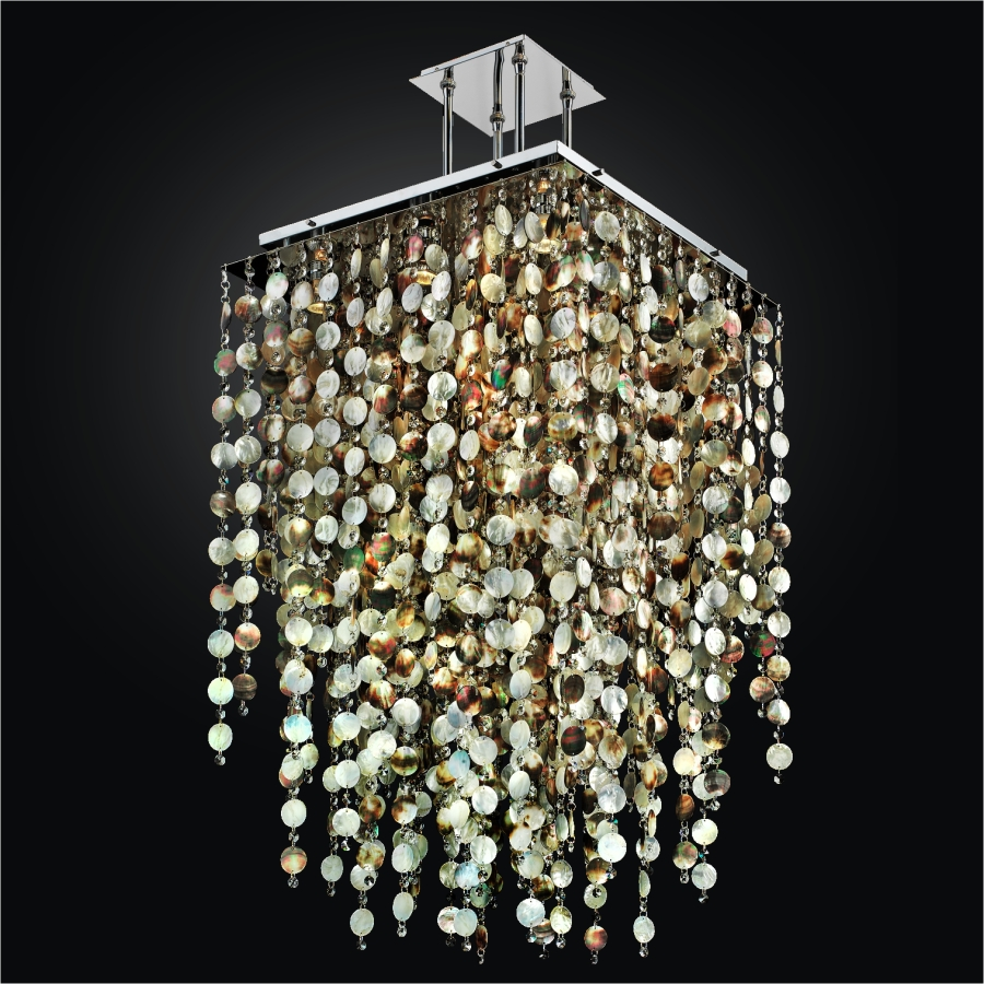 Mother of Pearl Chandelier | Cityscape 598PD24-37SP-7 by GLOW® Lighting;