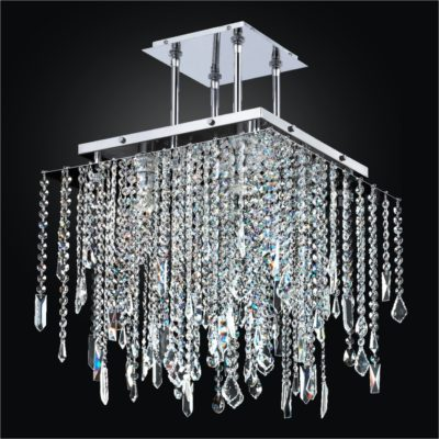 Square Crystal Chandelier with Assorted Shaped Crystals | Cityscape 598M