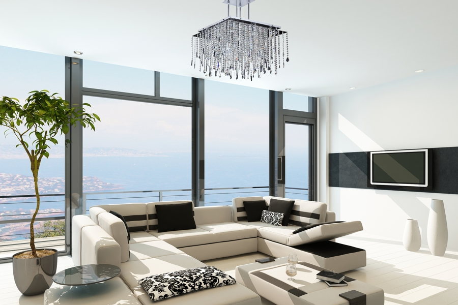 Long Square Crystal Chandelier | Cityscape 598M by GLOW® Lighting;