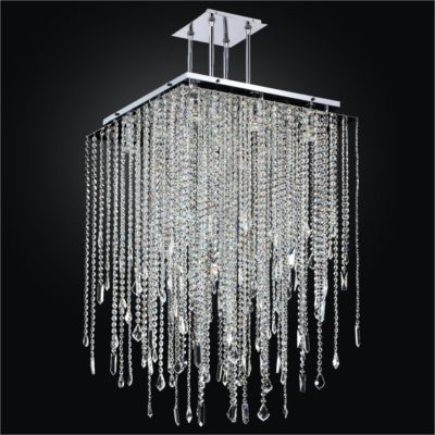 Long Square Crystal Chandelier with Assorted Shaped Crystals  | Cityscape 598M