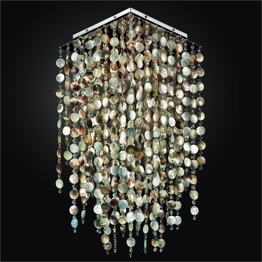 Flush Mount With Mother Of Pearl Shell And Crystal