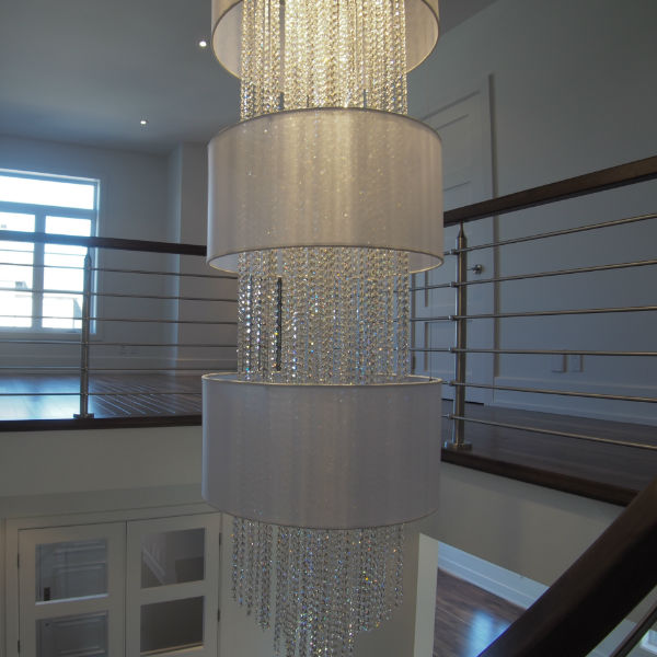 Custom Lighting Foyer Chandelier Smooth Crystal Glow Lighting Square