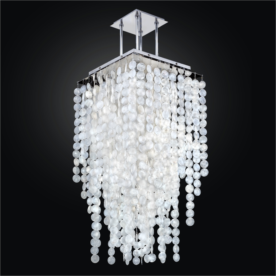 Long Capiz Shell Chandelier | Cityscape 598C by GLOW® Lighting.
