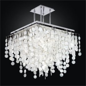 Square Capiz Shell Chandelier | Cityscape 598C by GLOW® Lighting.