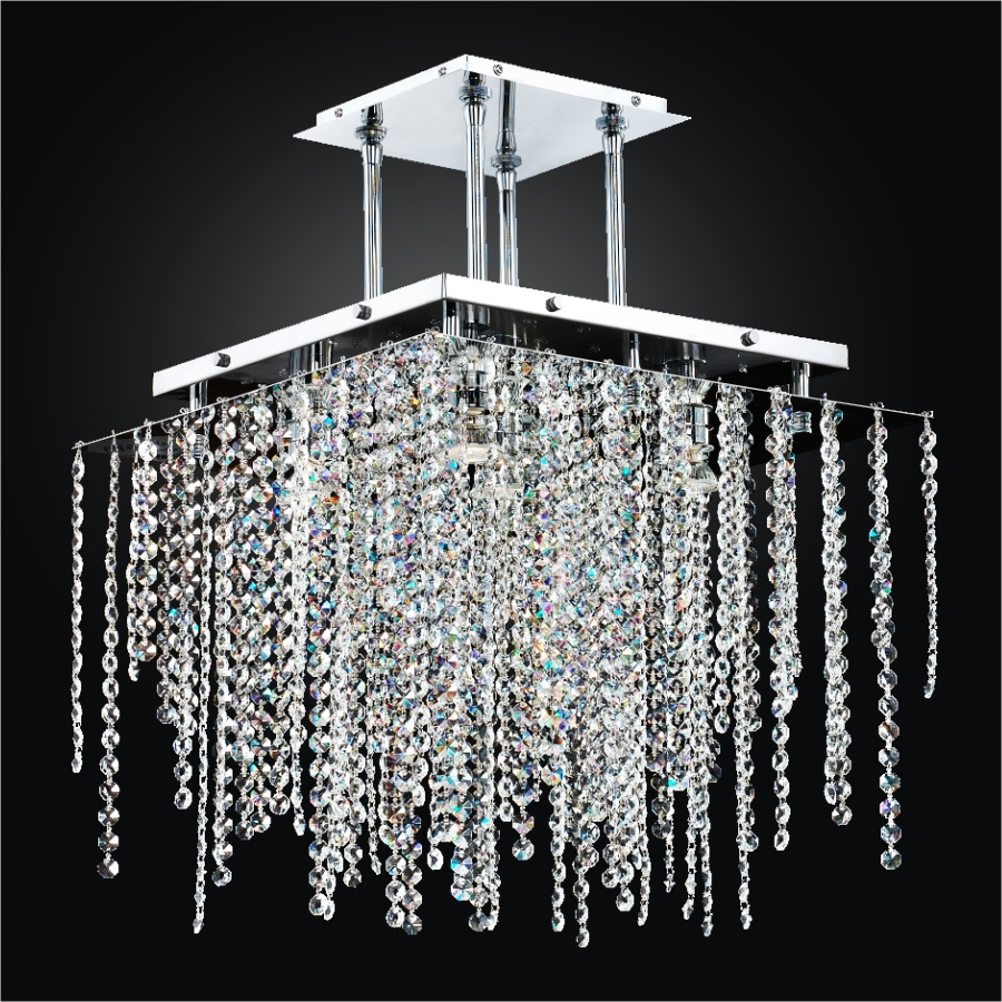 Contemporary Square Crystal Chandelier | Cityscape 598A by GLOW® Lighting;
