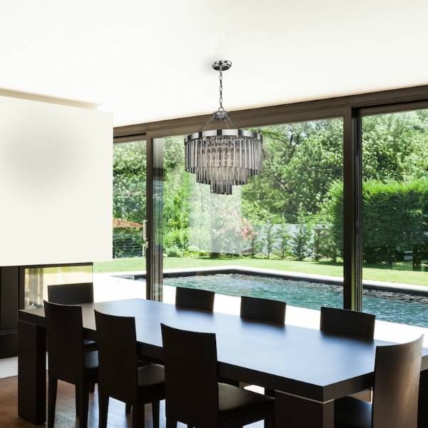 Awesome Modern Contemporary Dining Room Glass Chandelier Glow Lighting Square