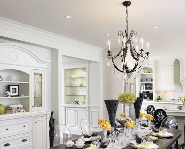 GLOW Lighting Traditional Black Iron Crystal Chandelier Kitchen Contemporary Dining