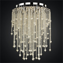 Custom made long cream color faux pearl and -faceted clear crystal bead ceiling light