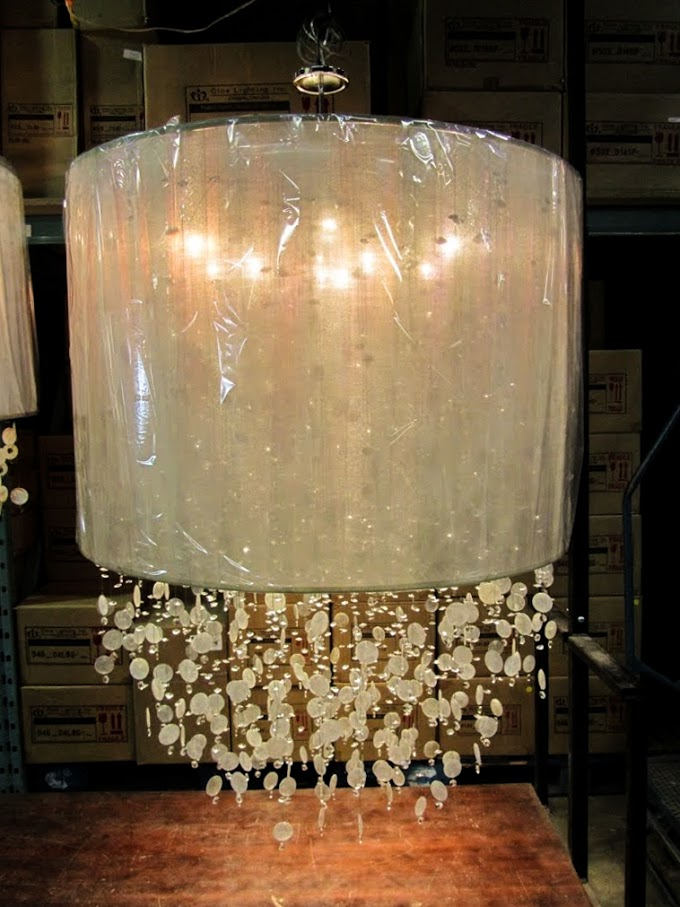 Large drum shade Around Town capiz shell and crystal custom lighting chandelier