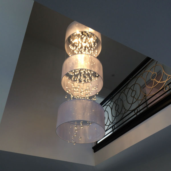 Foyer crystal chandelier Silhouette 3 silver drum shades two story crystal beaded ceiling light