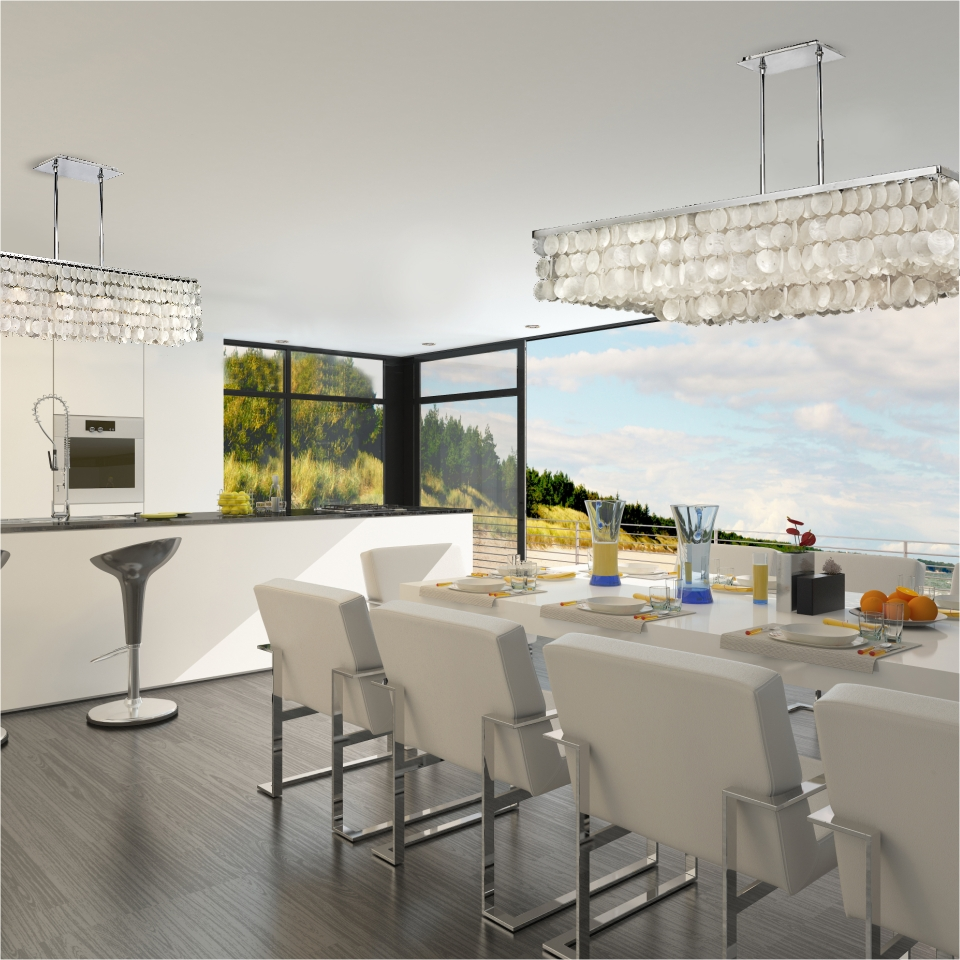 Modern & contemporary crystal lighting Surfside and Bay Breeze white capiz chandeliers in kitchen setting