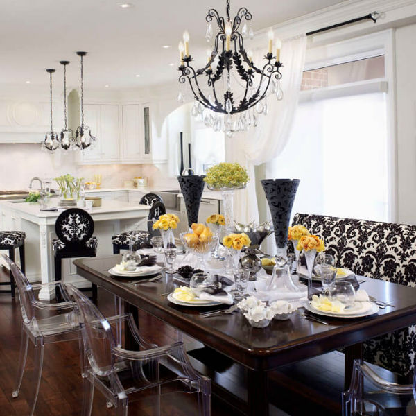 Kitchen light fixtures for Regina Sturroch Design Chateau midnight iron and crystal chandelier and island lights