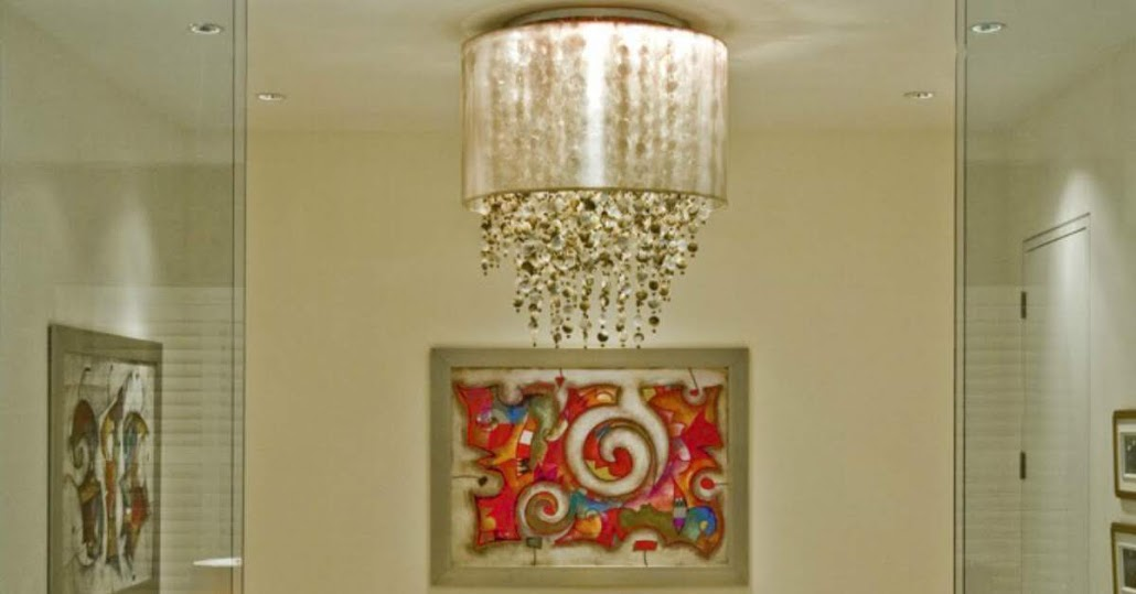 Large flush mount light customized Midnight Pearl mother of pearl shell strand length and taupe drum shade